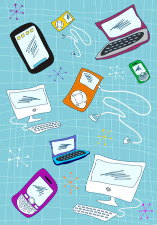 Handwriting technological devices icons set on blue background.  photo