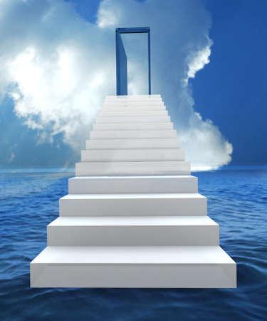 porta aperta: Scala con la porta aperta ad un cielo blu nuvoloso semi. Illustrazione 3D