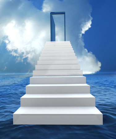 Staircase with open door to a semi cloudy blue sky. 3D illustration