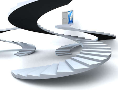 Various Staircases with open door to a semi cloudy blue sky. 3D illustration illustration