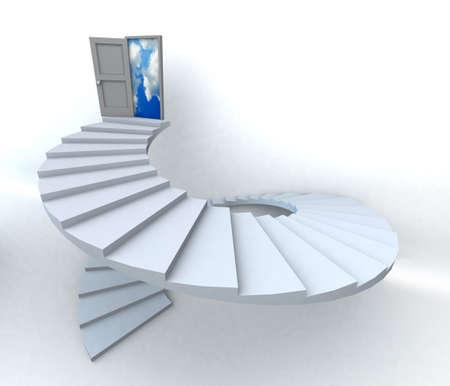 拡大: 半曇り青空に開かれた扉付き階段です。3 D イラスト