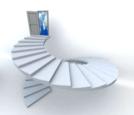 spiral stairway: Staircase with open door to a semi cloudy blue sky. 3D illustration