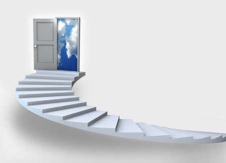 step up: Staircase with open door to a semi cloudy blue sky. 3D illustration