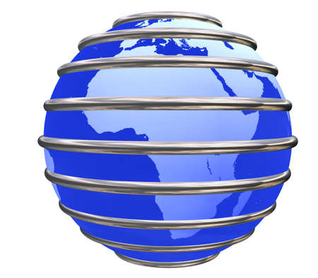 Blue Earth Planet in jail by metal bars focused in Africa on white background. Stock Photo - 8910964