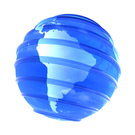 mapa peru: Azul vidrioso transparente planeta tierra con l�neas paralelas. Objeto 3D se centr� en Am�rica del Sur sobre fondo blanco. Foto de archivo