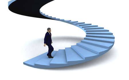 subir escaleras: Empresario caminando en la planta superior de la escalera del éxito. Ilustración 3D