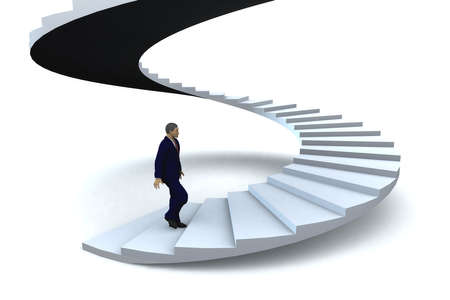 winding: A businessman walking upstairs the success staircase.