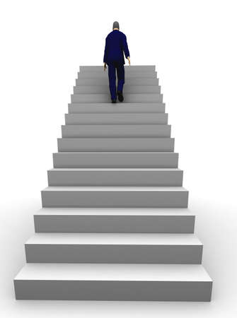 A 3d businessman walking upstairs the success staircase. photo