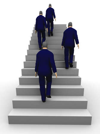 Four businessmen seen from back climbing a staircase. 3D illustration illustration