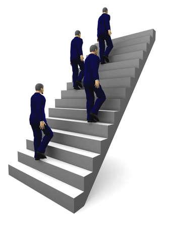 Four businessmen climbing a ladder. 3D illustration illustration