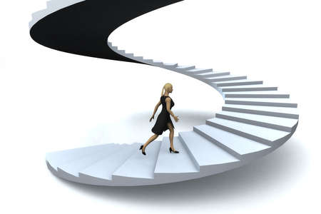 ambi��o: A businesswoman walking upstairs the success staircase.