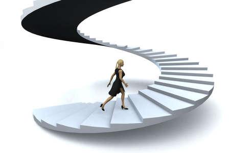 objetivo: Una empresaria caminando en la planta superior de la escalera del éxito.