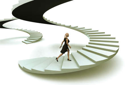 A businesswoman walking upstairs the success staircase. Stock Photo - 8910975