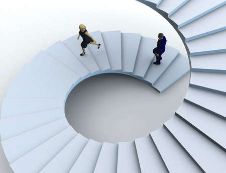 success focus: Businesswoman and a businessman going upstairs in a curved staircase.