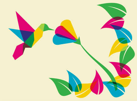 flying birds: Spring time: multicolored humming bird. Vector file available.