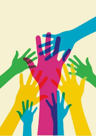 Ilustración de manos multicolores sobre un fondo claro. Archivo de vector disponible.