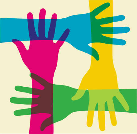 charity person: colorful hands illustration over a light background. Vector file available. Illustration
