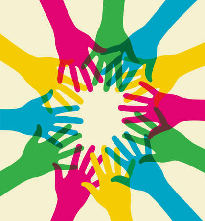 community help: multicolored hands illustration over a light background. Vector file available.