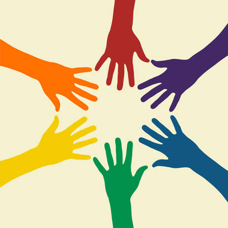 democracia: Ilustraci�n de manos de arco iris en un fondo claro. Archivo de vector disponible. Vectores