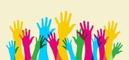 vélemény: Your hand up. Everybody opinion matters. Widescreen composition. Illusztráció