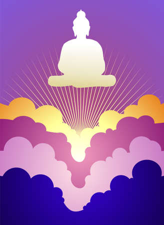 buddhists: Buddha silhouette at sunrise on violet background  Vector available. Illustration