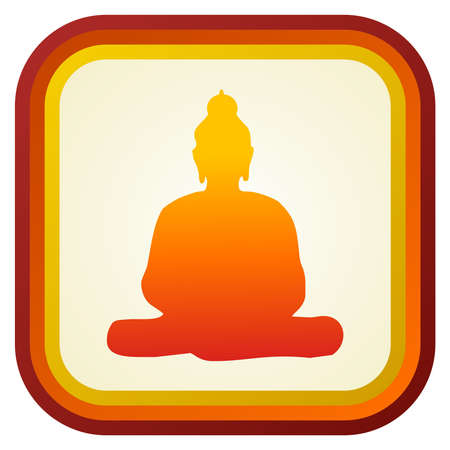 Buddha orange silhouette with frame on cream background.  Vector