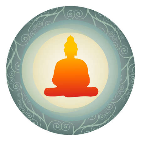 Buddha orange silhouette on a plate. Vector available. Stock Vector - 9233796
