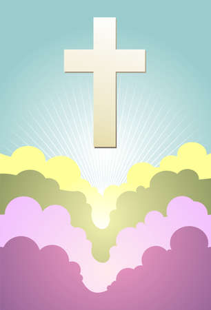 Cross silhouette at sunrise over cloudy violet background. Vector available. Vector