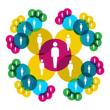 Diagrama de relaciones sociales de Web mostrando a gente siluetas conectados por círculos coloridos.