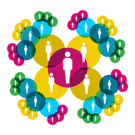 communicatie: Web sociale Relatiediagram mensen silhouetten verbonden door kleurrijke cirkels te laten zien.