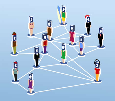 communicated: virtual community communicated through social networks Illustration