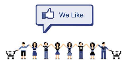 trabajo social: Comunidad virtual de compras en redes sociales. Vector disponible Vectores