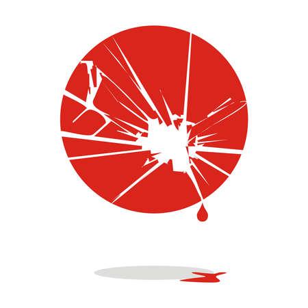 Japan flag torn and bleeding for disaster. Vector