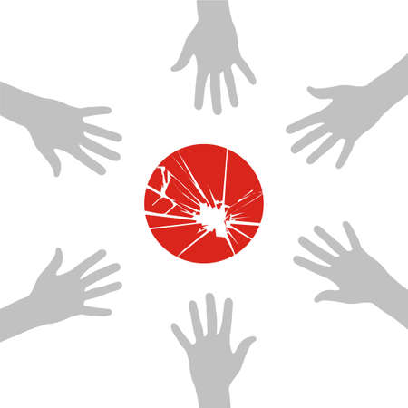 Group hands in a circle around the flag of japan. Vector available Vector