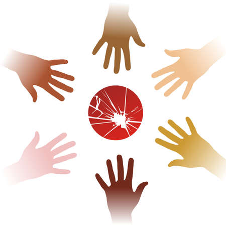 Diversity hands to help Japan. Vector available Vector