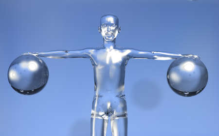Glassy 3d man with open arms holing two glass spheres on blue background. photo
