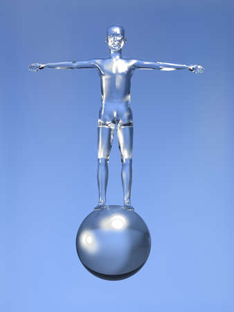 Glassy 3d man with open arms over a glass sphere on blue background. photo