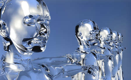 concept images: Glassy 3d cyber men in perspective with open arms over blue background.