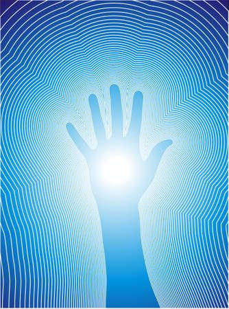 reiki: Illustrazione vettoriale di una mano e la linea di reiki.