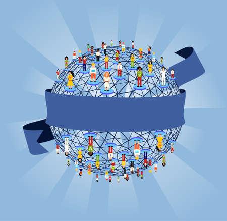 corporate social: Diagramma di relazioni di rete sociale globale su sfondo azzurro.
