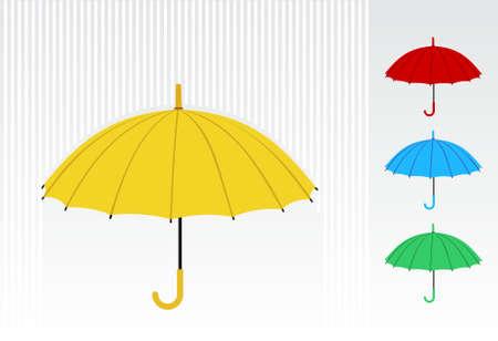 Sombrilla amarilla con un colorido patrón de paraguas en el lado derecho. Vector disponible