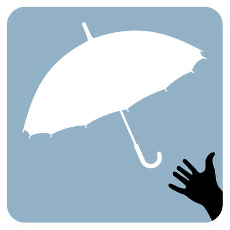 Silhouette of a hand and an umbrella on a sky blue background. Vector available Vector