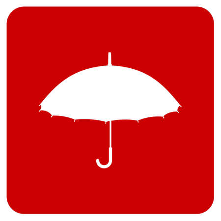 umbrella rain: White silhouette of an umbrella on a red background. Vector available