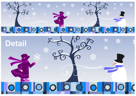 Girl and snowman in a winter day. Vector available Vector