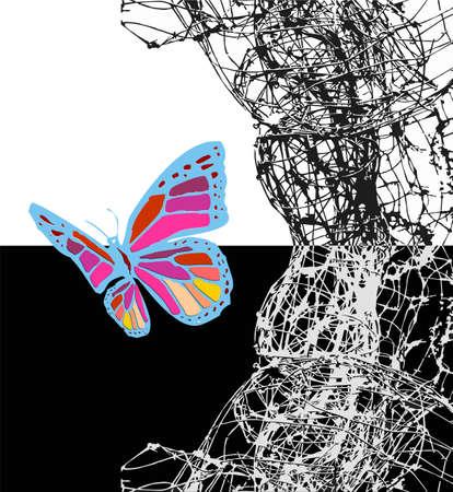 capullo: Colorfull mariposa dejando su capullo blanco y negro. Vector disponible