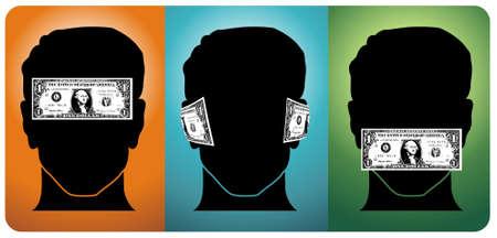 Drei Köpfe mit ihren Sinnen durch Geld blockiert. Vector verfügbar Vektorgrafik