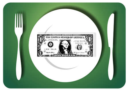 saving tips: One-dollar bill for served for a meal. Vector available Illustration