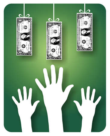 one dollar bill: Hands trying to reach hanging dollar bills