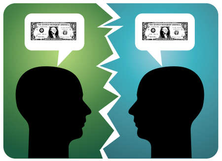 one dollar bill: Two men arguing about money. Vector available