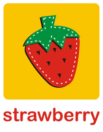 An icon of a strawberry over a yellow background.Vector available Vector